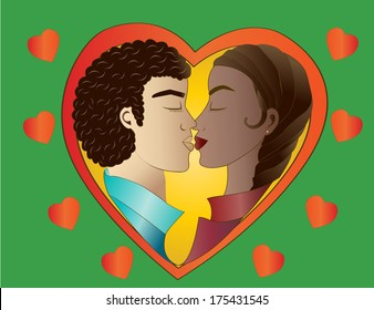 Love on green background