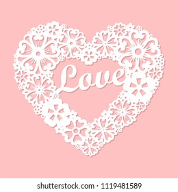 Love. Openwork heart made of flowers.Laser cutting template for greeting cards, envelopes, wedding invitations, decorative art objects