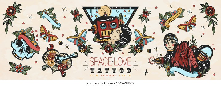 Love in outer space. Retro futuristic old school tattoo collection. Lovers. Kissing robot, girl astronaut, mechanical heart, Mars mountains.  Sci-fi movie funny art. Traditional tattooing style