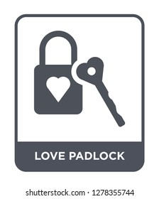 love padlock icon vector on white background, love padlock trendy filled icons from Birthday party and wedding collection, love padlock vector illustration