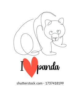 I love panda. Continuous line drawing. Vector illustration.