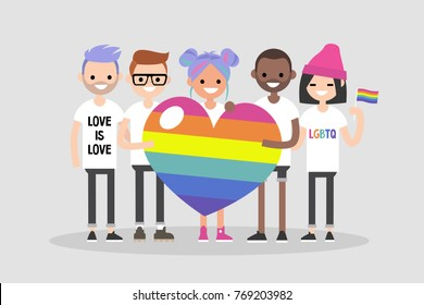Love parade. A group of people holding a huge rainbow heart. LGBT community. Human rights. LGBTQ. Flat editable vector illustration, clip art