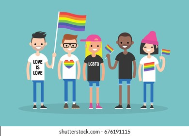 Love parade. A group of people with rainbow flags and symbols. LGBT. LGBTQ.