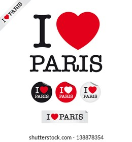 i love Paris, font type with signs, stickers and tags