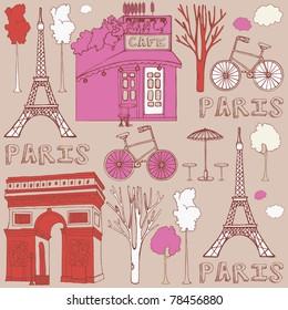Фотообои LOVE in Paris seamless background