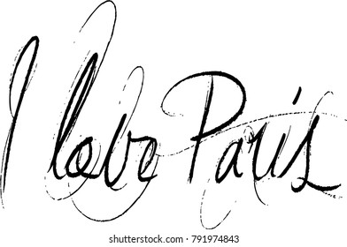 I love paris text sign illustration on white background