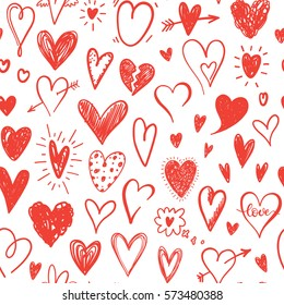 Love pattern with hand drawn doodle hearts. Valentines Day design. Red and white colors.