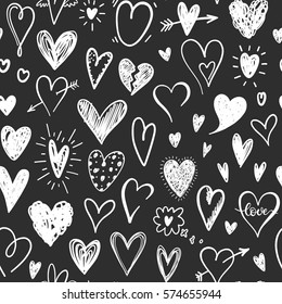 Love pattern with hand drawn doodle hearts. Valentines Day design.