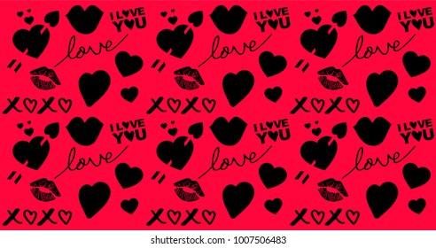 Love Pattern, Hearts, Kisses, Love Text, XOXO, I Love You