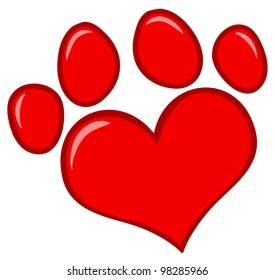 Love Paw Print. Vector Illustration