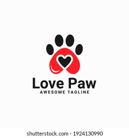 love paw print vector logo illustration. paw print with a heart symbol. cat or dog paw print. veterinary clinic logo. animal care sign.