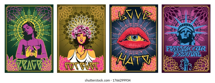 Love, Peace, Freedom Psychedelic Art Poster Set, Hippie Women, Statue of Liberty, Women Lips, Floral Mandals, Ornate Backgrounds