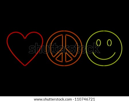Love Peace Happiness Symbols Rendered Neon Stock Vector Royalty