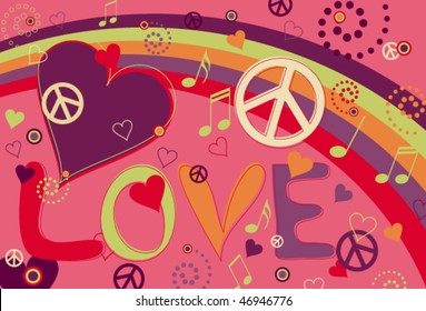 Love Peace and Hearts in Hot Pink