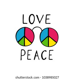 Love and peace hippie style design.  Text with sunglasses isolated on white background.
