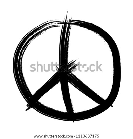 Love Peace Symbol On Hand Brush Stock Vector Royalty Free