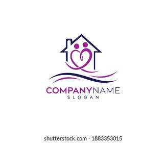 Love People home medical logo design, Health Care logo design, Hospital logo design template elements Emergency clinic medicine with help people symbols vector icon