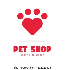 LOVE PET SHOP LOGO ICON SYMBOL TEMPLATE