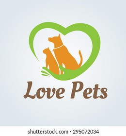 Love Pets Vector Logo Template