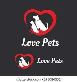 Love Pets Vector Logo Template