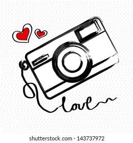 i love photographic over white background vector illustration