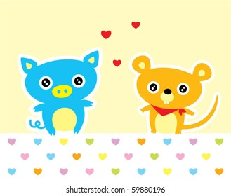 love piggy and mouse