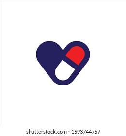 love pill medical logo vector