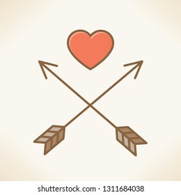 Love pirates. Abstract illustration of arrows and red heart in form of skull and crossbones sign.  Idea - Valentines day, Love, marriage, wedding, Honeymoon, romantic relationships unusual concepts.