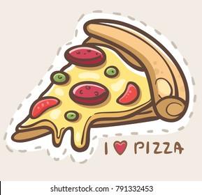 I love Pizza. Cartoon pizza slice.