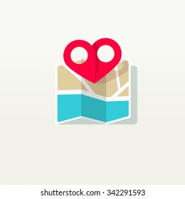 Love place pin pointer with city map logo icon, heart shaped find marker label, concept, destination, amour wedding isolated on white background flat style icon modern brand design vector illustration