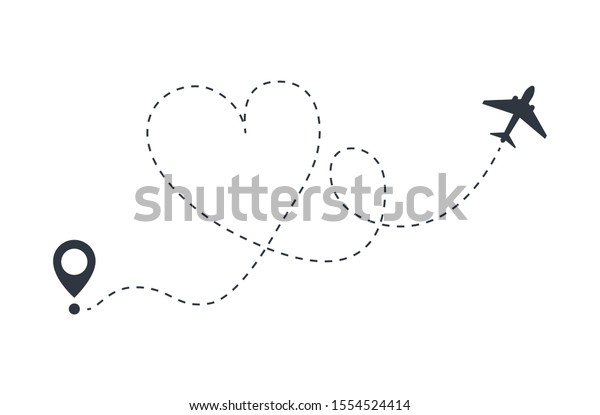 Love Plane Route Departure Arrival Love Stock Vector Royalty Free 1554524414