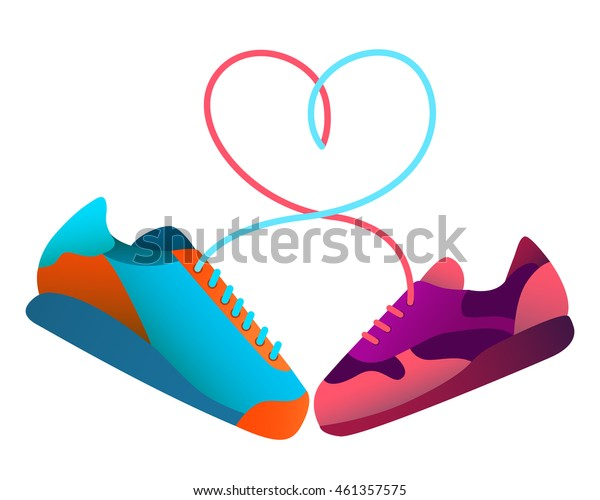Love is to play sports together. Vector illustration
