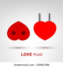 Love Plug - creative Valentines Day heart-shaped plug and socket concept vector illustration