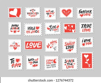 Love post stamps set. Love quotes, sayings. Hand drawn lettering and illustration with hearts. Be mine, Sweet love, Happy Valentines Day. For Valentines Day design, poster, card, social media