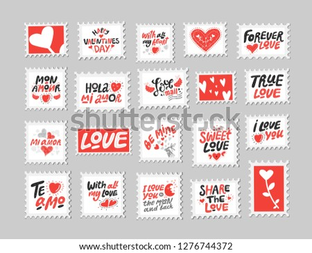 Love Post Stamps Set Love Quotes Stock Vector Royalty Free