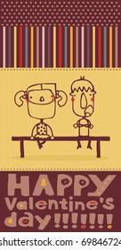 love postcard of children sitting on a bench