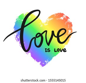 Love is love poster against homosexual discrimination. Rainbow hand drawn heart isolated on white. Pride LGBT symbol.