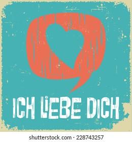 Love poster in German. Retro style. International series.