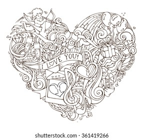 Love poster template with hand-drawn doodles elements. Vector illustration for your romantic design. Cupid, ring, lock and key, swirls and ribbons, balloons and others symbols.