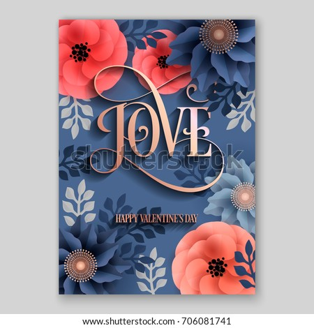 Love Poster Vector Big Paper Flower Stock Vector Royalty Free