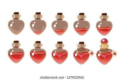 love potion . Game icon of magic elixir. Vector design for app user interface. Heart bottles with different liquid level. Isolated on white background.