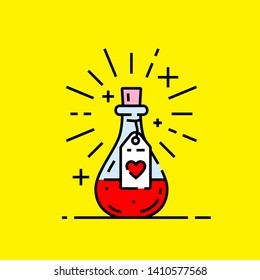 Love potion icon. Love spell magic bottle with red heart graphic isolated on yellow background. Vector illustration.