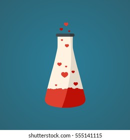 Love potion with magic elixir in flat design. Vector illustration.