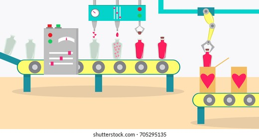 Love potion perfume factory. Conveyor for the production of  love perfume. Vector illustration, flat style.
