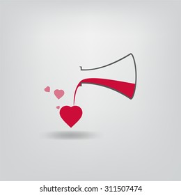 A love potion. Vector illustration with flask and heart-shape bubbles