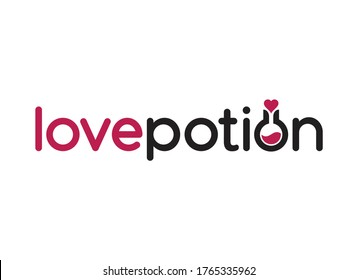 Love potion words with a bottle of red potion in the negative space of a letter O with a red heart stopper