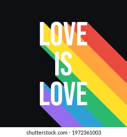 Love Is Love Pride Month Rainbow Flag Typography. LGBTQ Pride Month Banner with LGBT Flag Colours. Vector Illustration for Pride Month - Great for Social Media Post.
