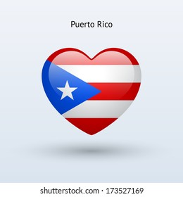Love Puerto Rico symbol. Heart flag icon. Vector illustration.