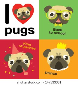 I love pugs. Funny pugs in different situation: pug's party, pug-prince, pug-schoolboy