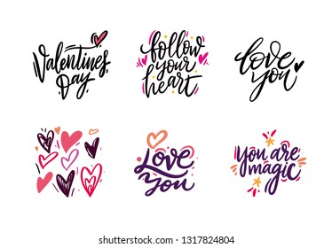 Love quotes set. Hand drawn vector lettering. Love to valentines day design poster, greeting card, photo album, banner. Isolated on white background. Vector illustration collection